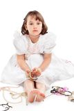 Pretty little girl in white dress Royalty Free Stock Photo