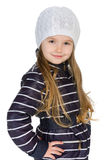Pretty little girl in the winter clothes Stock Images