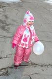 Pretty Little Girl With White Balloon. Royalty Free Stock Photos
