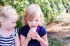 Pretty little girls (sisters) eating ice cream in the summer the Stock Images