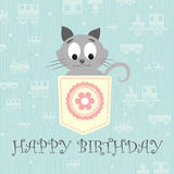 Pretty little gray kitty vector illustration Stock Photo