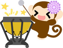 The pretty little monkeys. The pretty little monkey and a percussion Stock Photo