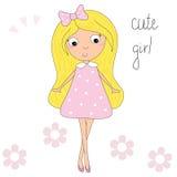 Pretty little pink girl vector illustration Stock Image