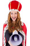 Pretty little queen holding megaphone isolated on Stock Photo