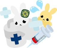 Pretty Little Rabbits. The pretty little rabbits and first-aid kit Stock Images