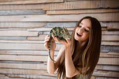 Pretty littlle Girl with chameleon Royalty Free Stock Images