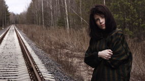 Pretty lonely girl Forest Railway Stock Photos