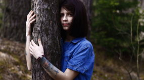 Pretty lonely girl Forest Stock Photo