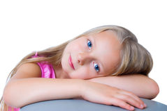 Pretty Long Hair Blond Girl With Blue Eyes Royalty Free Stock Photos