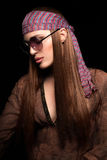 Pretty Long Hair Hippie Woman on Black Background Royalty Free Stock Image