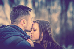 Pretty lovely couple outdoor Stock Image