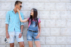 Pretty loving couple dating outdoors royalty free stock image