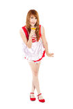 Pretty Maid drink Orange juice glass white backboard Royalty Free Stock Photography