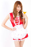 Pretty Maid drink Orange juice glass white backboard Royalty Free Stock Photography