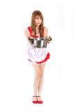 Pretty Maid drink Orange juice glass white backboard Royalty Free Stock Photo