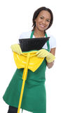 Pretty Maid Holding Broom royalty free stock photography