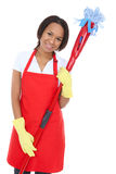Pretty Maid Holding Mop Royalty Free Stock Photos