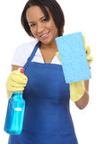 Pretty Maid Washing with Sponge