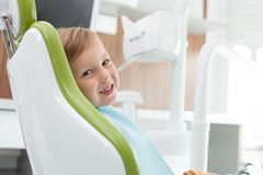 Pretty male child came to visit dentist Stock Photography