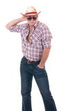 Pretty man with cowboy hat. On white background Royalty Free Stock Photo