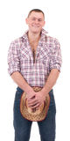 Pretty man with cowboy hat Stock Images