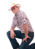 Pretty man with cowboy hat. On white background Royalty Free Stock Images