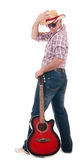 Pretty man with cowboy hat and guitar. On white background Stock Photos