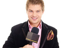 Pretty man and microphone Stock Photography