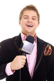 pretty man and microphone Stock Images