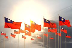 Pretty any occasion flag 3d illustration - many Taiwan Province of China flags in a row on sunset with free place for your text. Pretty many Taiwan Province of royalty free illustration