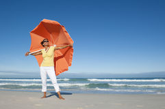 Pretty mature woman ocean background Stock Image