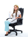 Pretty medical assistant with sheets of paper in her hands Stock Photos