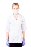 Pretty medical doctor in white robe isolated Royalty Free Stock Photography