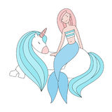 Pretty mermaid and a beautiful unicorn isolated vector illustration Royalty Free Stock Images