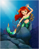 A pretty mermaid trapped with the big rocks under the sea Stock Photography