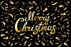 Pretty Merry Christmas card template. Gold glitter confetti and hand drawn lettering  on black background. Vector illustra Royalty Free Stock Image