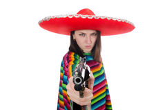 Pretty mexican girl in vivid pocho isolated on Stock Images