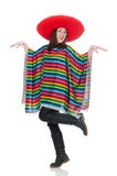 Pretty mexican girl in vivid pocho isolated on Royalty Free Stock Photos