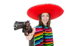 Pretty mexican girl in vivid pocho isolated on Royalty Free Stock Photo