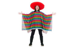 Pretty mexican girl in vivid pocho isolated on Stock Photography