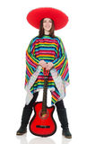 Pretty mexican girl in vivid pocho isolated on Royalty Free Stock Photography