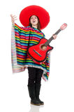 Pretty mexican girl in vivid pocho isolated on Stock Photos