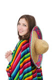Pretty mexican girl in vivid pocho isolated on. Pretty mexican girl in vivid poncho isolated on white Stock Image