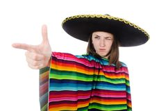 Pretty mexican girl in vivid pocho isolated on Stock Photo