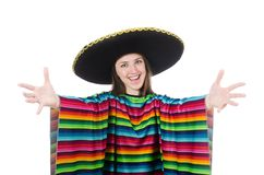 Pretty mexican girl in vivid pocho isolated on Royalty Free Stock Image