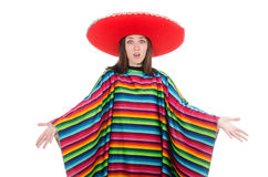 Pretty mexican girl in vivid pocho isolated on Royalty Free Stock Images