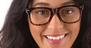 Pretty Mexican woman wearing glasses Stock Image