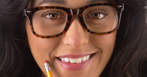 Pretty Mexican woman wearing glasses Stock Images