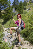 Pretty middle aged female hiker resting Royalty Free Stock Photo