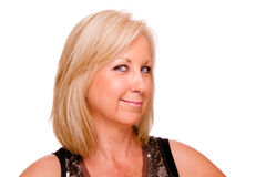 Pretty middle-aged woman dressed for party Stock Photo